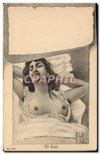 Old Postcard Fantasy Illustrator Woman 30 years erotic Nu
