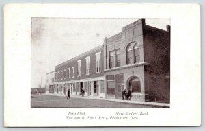 Qaasqueton Iowa~West Side Water Street~Boies Block~State Savings Bank~1911