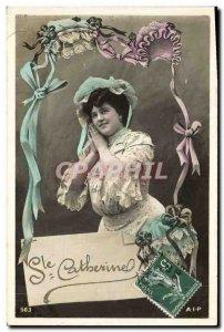 Old Postcard Fantasy Woman Ste Catherine Bonnet