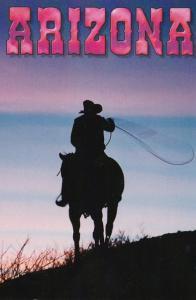 Arizona Cowboy Practicing Roping Skills At Sunset