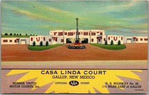 GALLUP, New Mexico ROUTE 66 Postcard CASA LINDA COURT Highway 66 Roadside Linen