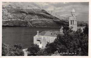 Korcula Croatia Church Scenic View Real Photo Antique Postcard J74316