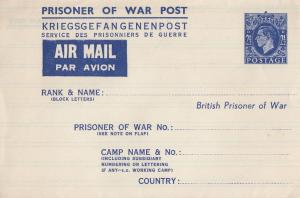 British Prisoner Of War WW2 Post French Camp EX Cover