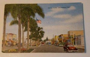 VTG Postcard Chula Vista San Diego California 1955 postmark old cars stores  410