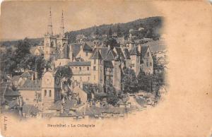 Neuchatel Austria La Collegiale Birds Eye View Antique Postcard J68428