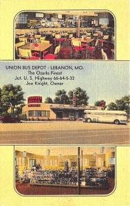 Lebanon MO Union Bus Depot Ozarks Greyhound Bus Linen Postcard