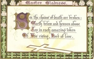 Easter Gladned. Easter Message Tuck Easter Post Cards Ser. PC # 702