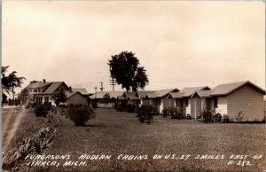 Ithaca Michigan~Furgason's Ferguson's Modern Cabins~US 27 Roadside~1930s RPPC