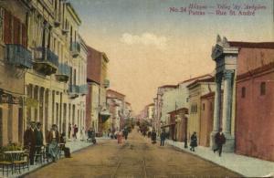 greece, PATRAS PATRA Πάτρα, Rue St. André (1920s) Postcard