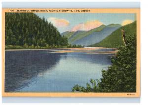 Mid-1900s Beautiful Umpqua River, Pacific Highway US 99, Oregon Postcard