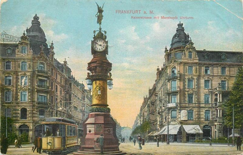 Frankfurt am Main tram clock 1908 postcard Germany