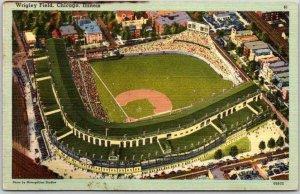 1940s WRIGLEY FIELD Chicago Postcard Cubs Baseball Stadium Linen *Damaged