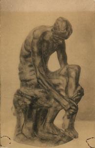 Belgian Sculptor Constantin MEUNIER, Le Blessé, Bronze Statue