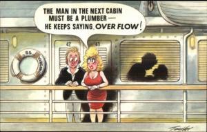 Dumb Blonbde Jock Sex on Steamship SS Virgin Misogyny Comic Postcard