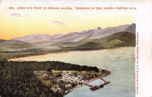 SEWARD ALASKA BIRDS EYE VIEW~END OF THE ALASKA CENTRAL RAILROAD POSTCARD c1900s