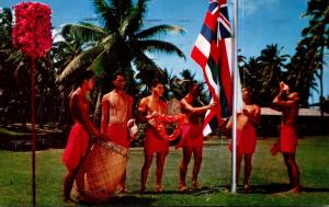 Hawaii Kauai Lihue Coco Palms Resort Hotel Hawaiian Flag Raising Ceremony 1964