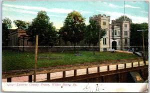 Wilkes-Barre, Pennsylvania Postcard LUZERNE COUNTY PRISON Building View c1900s