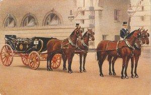 Royal Landau and Four Hay Horses Tuck Oilette Royal Mews Buckingh     am Palace