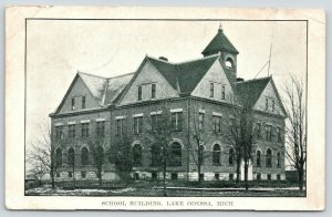 Lake Odessa Michigan~School Building~Lots of Bare Trees in Front~1911 B&W