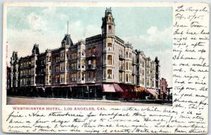 Los Angeles, California Postcard WESTMINSTER HOTEL Street View 1905 Cancel