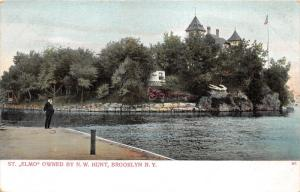 Brooklyn New York~St Elmo Owned by N. W. Hunt~Man @ Boat Dock~1912 Postcard