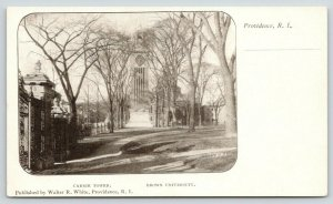 Providence Rhode Island~Brown University~Carrie Clock Tower~Fence on Left~c1905