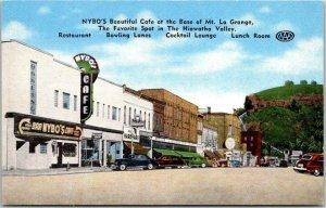 RED WING, Minnesota Postcard NYBO'S CAFÉ Restaurant Street View Linen c1940s