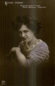 Beautiful Woman & Her Kitty Cat LUCKY PUSSY 3154/5 Tinted RPPC c1910