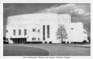 Norfolk Virginia view of New Auditorium theatre and arena vintage pc ZA440459