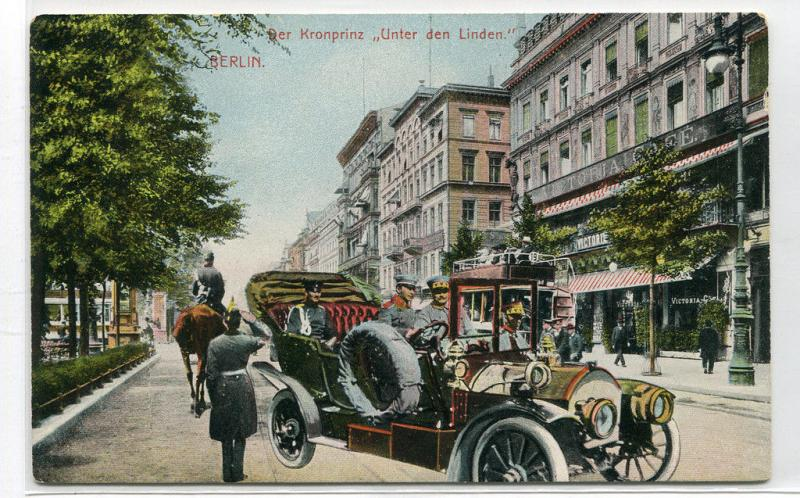 Kronprinz Crown Prince Car Unter den Linden Berlin Germany 1910c postcard