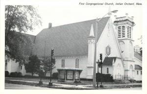 Indian Orchard Massachusetts~First Congregational Church~1950s B&W Postcard