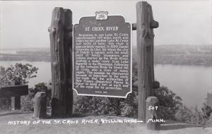 Minnesota Stillwater History Of The St Croix River Roadside Sign Real Photo