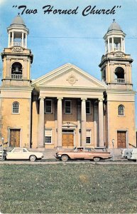 Marietta Ohio 1950-60s Postcard First Congreational Horned Church