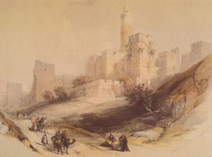 David Roberts The Citadel Of Jerusalem Without Walls Painting Postcard