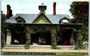 Elmira, New York Postcard Mark Twain's Summer Home, QUARRY FARM 1910 Cancel