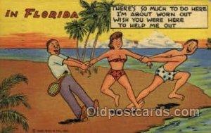 5F-Tropical Florida Comics Tennis postal used unknown corner wear, postal use...