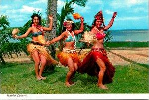 Tahitian Island Dancers Postcard unused (20448)