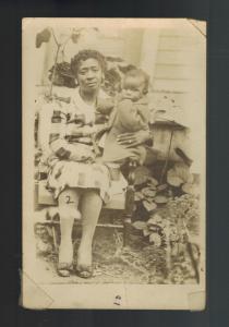 Mint Postcard Black Americana RPPC Well Dressed African American Woman baby Girl