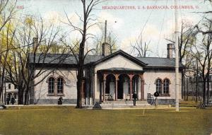 Columbus Ohio~Fort Hayes~Barracks Headquarters~Soldier on Step~Cannon Balls~1908