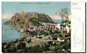 Old Postcard Panorama Capri Italy Italia dei due golfi di napoli e Salerno