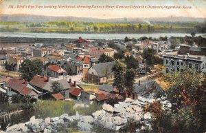 Argentine Kansas Birds Eye View showing Kansas River Vintage Postcard JH230985