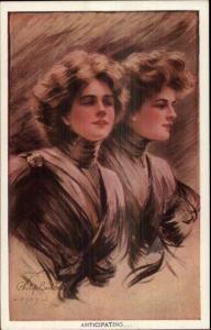 Beautiful Women in Black ANTICIPATING Philip Boileau Postcard EXC COND