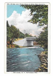 Old Forge NY 1933 Bridge over Moose River Adirondack Mts Vintage Postcard