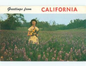 Pre-1980 WOMAN HOLDING CALIFORNIA POPPY FLOWERS State Of California CA E7480