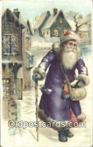 Hold To Light Santa Claus Postcard Post Cards Old Vintage Antique  Purple Sui...