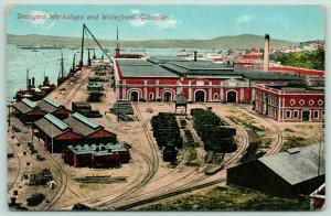 Gibraltar-Iberia nr Spain~Dockyards~Lumber Piles~Smokestack~c1910 Postcard