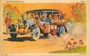 Auto Travel Comic Humor 1947 Ray Walters Postcard Teich linen 12064