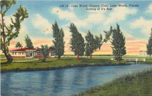 Lake Worth Florida~Country Club~1940s Postcard