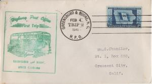 GREENSBORO NC to BOONE NC / HIGHWAY POST OFFICE - FIRST TRIP / 1949