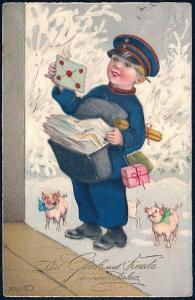 New Year Happiness & Joy Boy as Mailman & Pigs Used c1910s